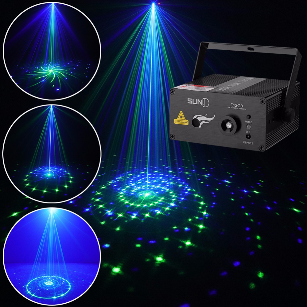 SUNY 12 GB Patterns Laser Light Blue LED Stage Light Sound Activated Gobo Projector Show for Club Bar DJ Disco Home Party(Z12GB)
