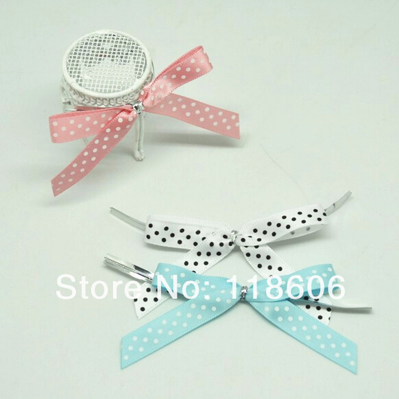 500pcs lot 2 Small Pre Tied Polka Dot Printed Candy Pack Decoration Ployester Satin Ribbon Bow