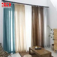 Однотонный тюль, занавески для гостиной, Современный японский хлопок и лен, легкая прозрачная вуаль, ткань для занавесок, занавески, занавески