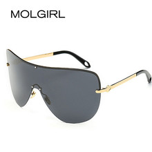 MOLGIRL Polarized Women Sunglasses Big Frame Oversize Conjoined Spectacle Rimless Alloy Frame Sun Glasses Oculos De Sol UV400