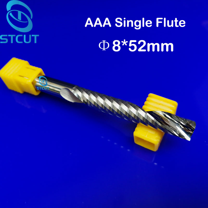 2pcs AAA HQ 8*52MM Single Long Flute Bit Carbide End Mill Set, CNC Router End Mills for Wood Cutter Milling, Acrylic Cutting Bit new 10pcs 3 175 x 22mm single flute carbide engraving cnc router spiral bit tool cutting acrylic pvc wood