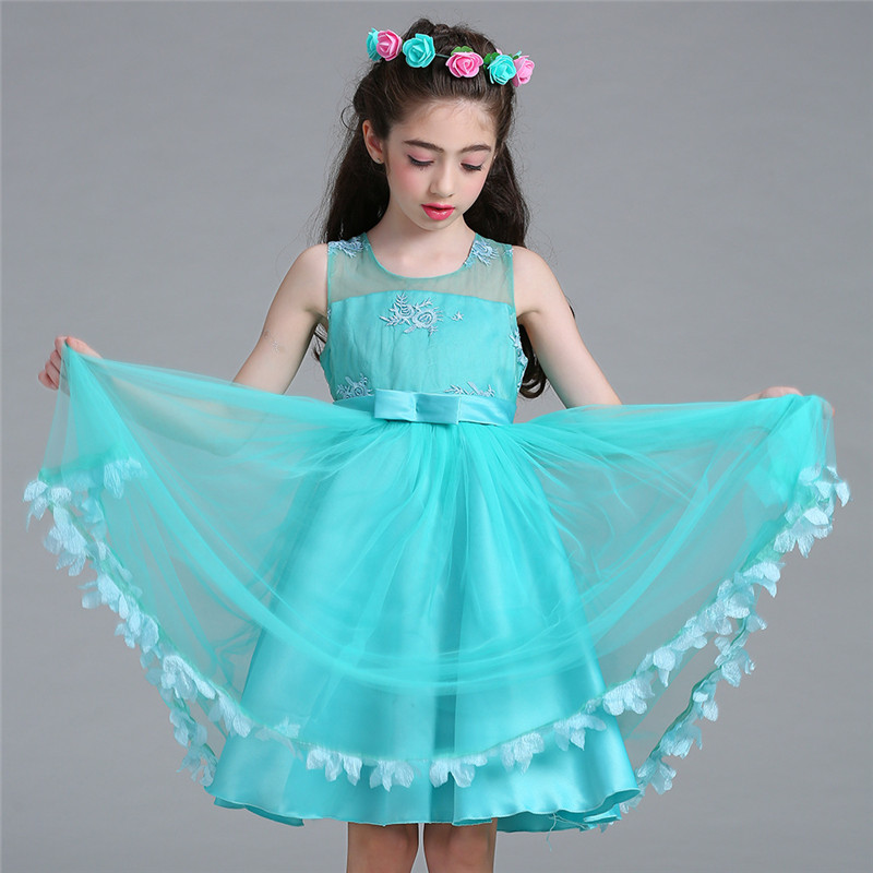 Summer Kids Wedding Party Dresses For Girls Birthday Princess Clothes Children Elegant Formal Vestido Ruched Floral Dress