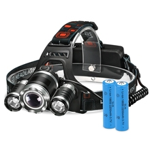 High Power Headlamp Rechargeable 8000 Lumen LED Lamp with 4 Light Modes 2 Rechargeable Batteries Charging Cable for Hiking