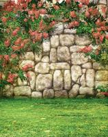 5X7FT Rock Stone Wall Blossoms Garden Photography Background Vinyl Backdrop Muslin Computer Printed Digital Cloth Backgrounds