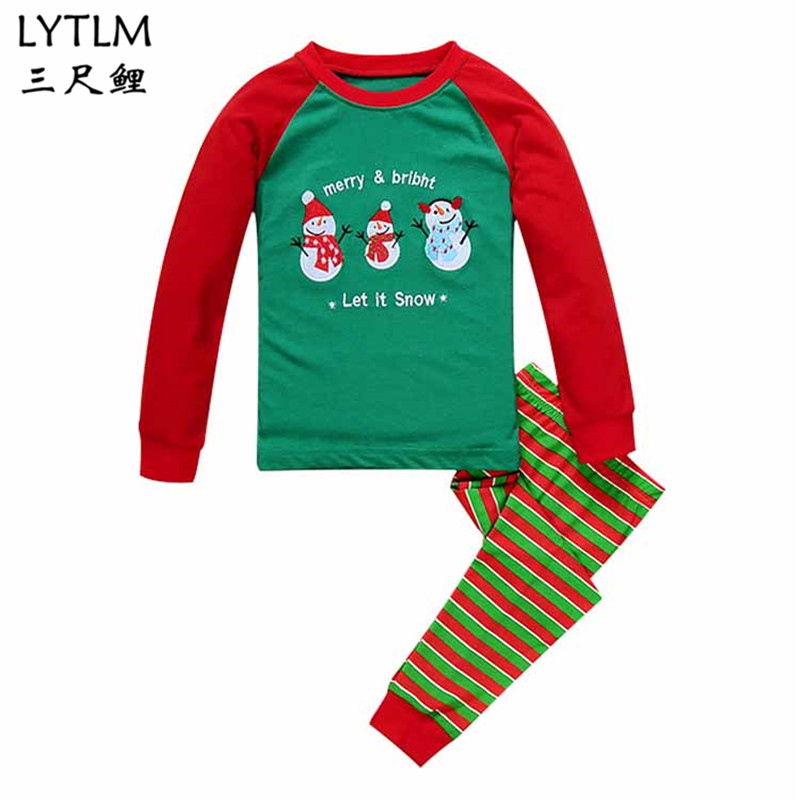 LYTLM Christmas Day Snowman Baby Girls Pajamas Sets Sports Suit Long Sleeve T-shirt +Pants Kids Clothes Childrens Clothing Sets