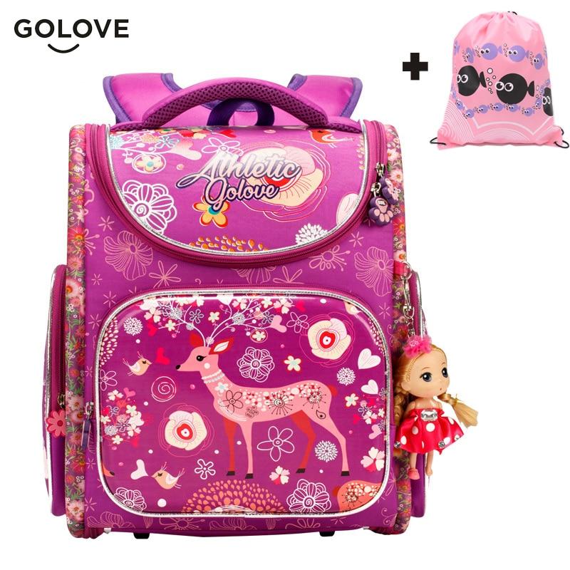 Golove Top Quality Children School Bags For Girls Boys Waterproof Orthopedic Kids Backpacks Floral School Bag Mochila Escolar