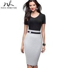 NICE FOREVER VINTAGE Elegant Contrast สี Patchwork ทำงานแหวน vestidos ธุรกิจ Bodycon สำนักงานผู้หญิงชุด B497
