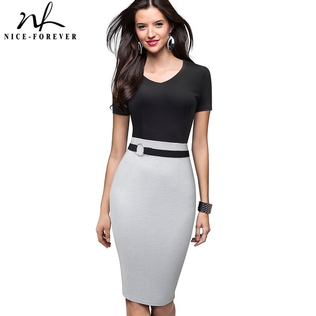 Nice forever Vintage Elegant Contrast Color Patchwork Work Ring vestidos Business Party Bodycon Office Women Sheath Dress B497