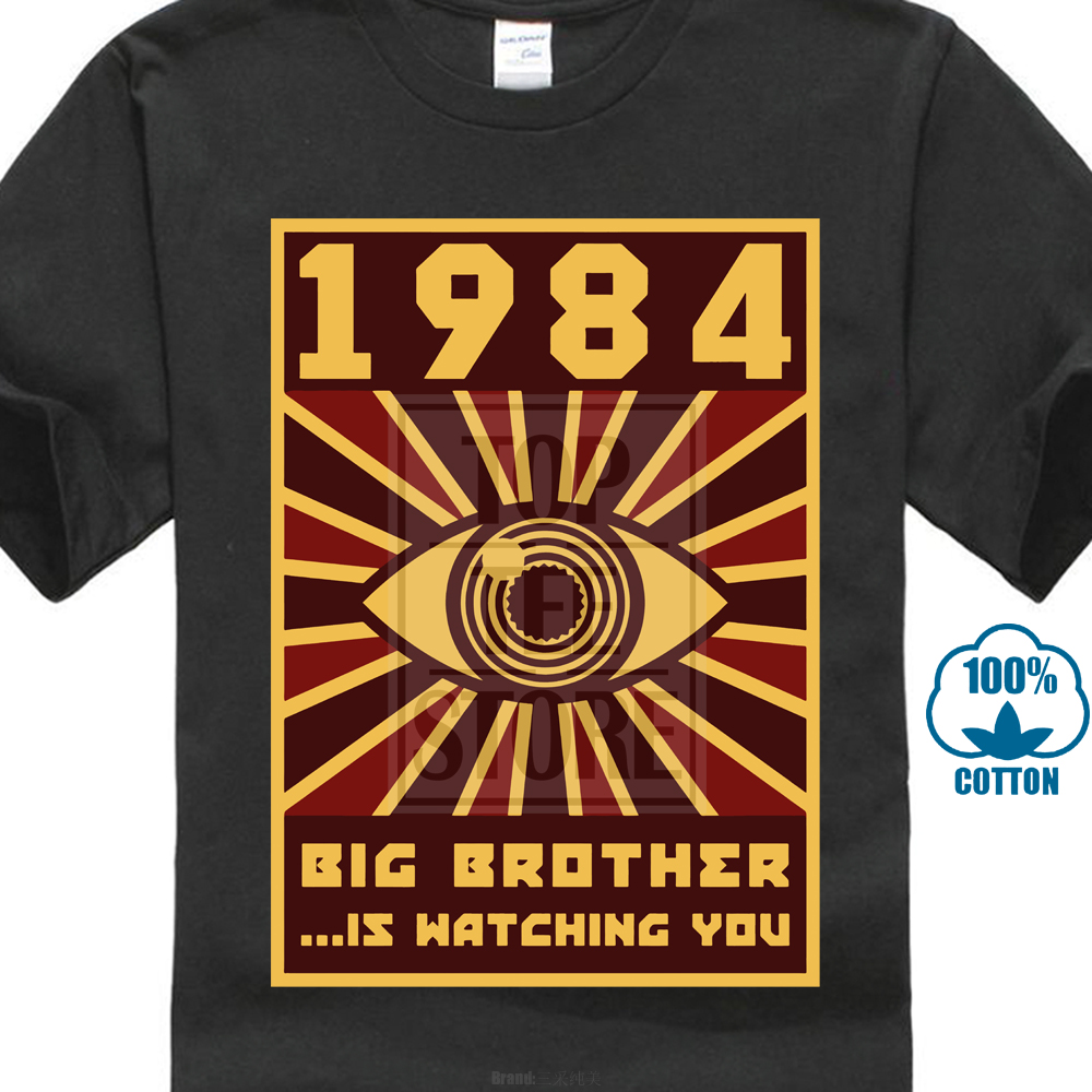 1984 Big Brother T-Shirt Men Black Tops Graphic Tshirt Horus Eye Clothing Vintage Tees 80S T Shirts Funny Hipster Streetwear