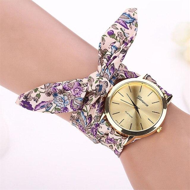2018 Vogue Floral Strap Wristwatch Women's Jacquard Cloth Quartz Watch Women Geneva Bracelet Watches Relogio Feminino