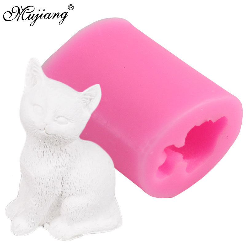 Mujiang DIY Lovley Small Cat Candle Mold 3D Craft Soap Resin Clay Molds Candy Chocolate Gumpaste Mould Cake Decorating Tools