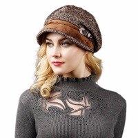 Fashion Fall Winter Retro Women's Fedora For Woman Lady Wool Leather Buckle Octagonal Hats Newsboy Caps