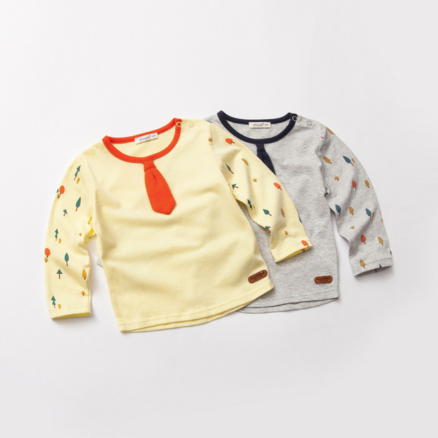 spring autumn cotton baby gentleman bow tie t shirt boys love undershirt clothes Children's long sleeve T-shirt child cothing
