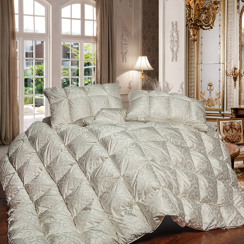 luxury natural 95% goose down comforters quilts 750FP Grade A silk jacquard cover 1000TC twin ...