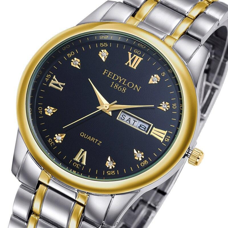 Fedylon 2017 Fashion Quartz Watches Men Top Brand Luxury Gold Business Watch WoMen Full Steel Calender