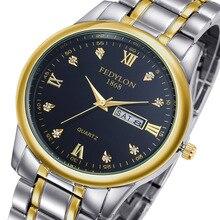 Fedylon 2017 моды кварцевые часы мужчин Лидирующий бренд роскошные золотые бизнес часы Женщины Полный стали Календарь Часы Relogio Masculino