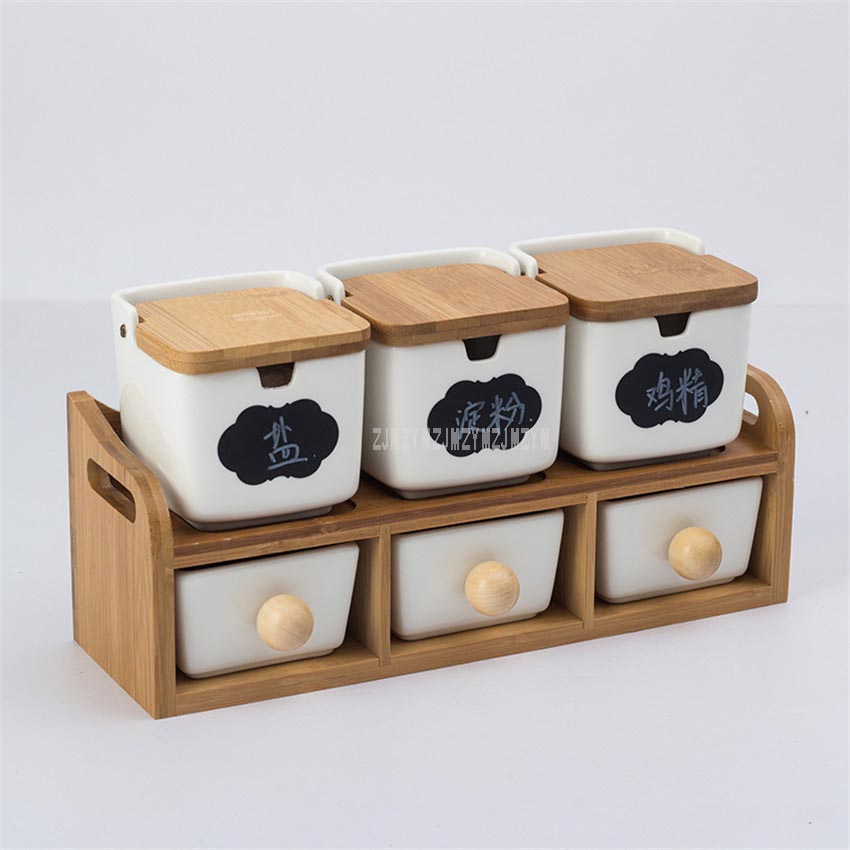 White Simple Sugar Bowl Home Kitchen Set Ceramic Salt Pepper Condiment Pot Jars Bamboo Frame Hang On Wall Cooking Kitchen Tool