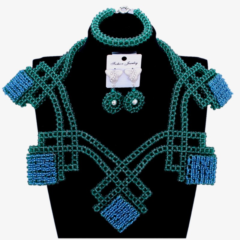 Luxury Crystal Bridal Jewellery Set Teal Green Wedding Necklace And Earrings Bracelet Set 2018 Nigerian Women Fashion Jewelry classical malachite green round shell simulated pearl abacus crystal 7 rows necklace earrings women ceremony jewelry set b1303