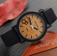Simulation Wood Grain Print Watch Big Black Dial PU Leather Band Sports Casual Watch For Men Women Watches relogio