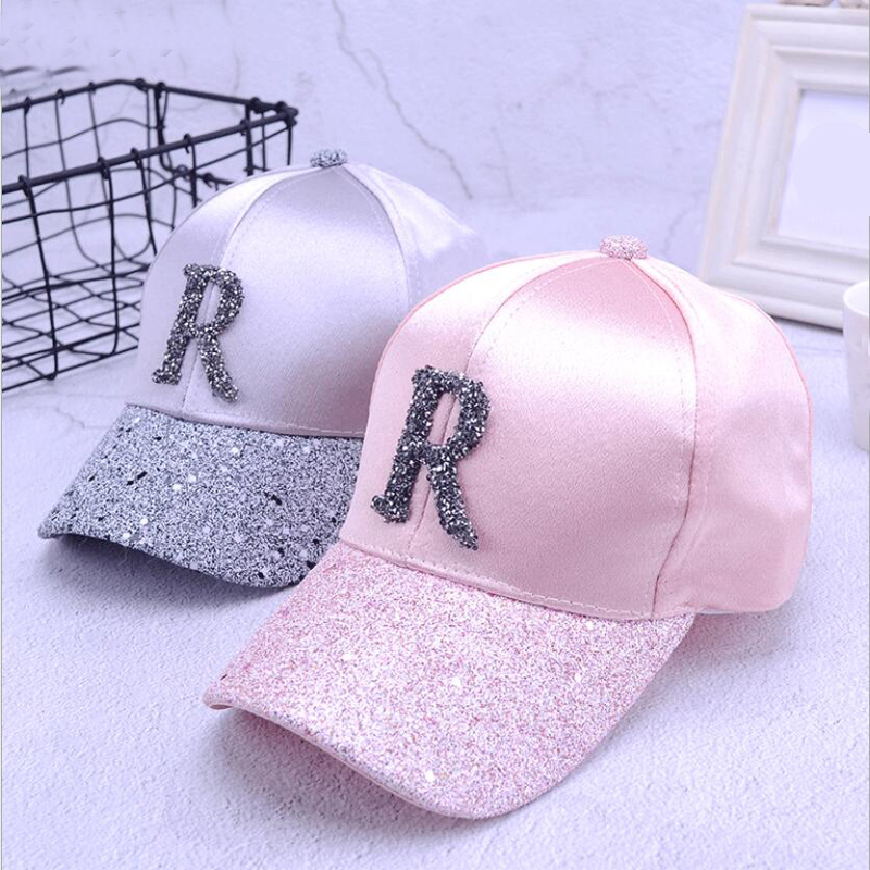 2018 Summer High Quality Women Rhinestone   Baseball     Caps   For Girl Female Adjustable Hip Hop Fashion Sequins Snapback Hats