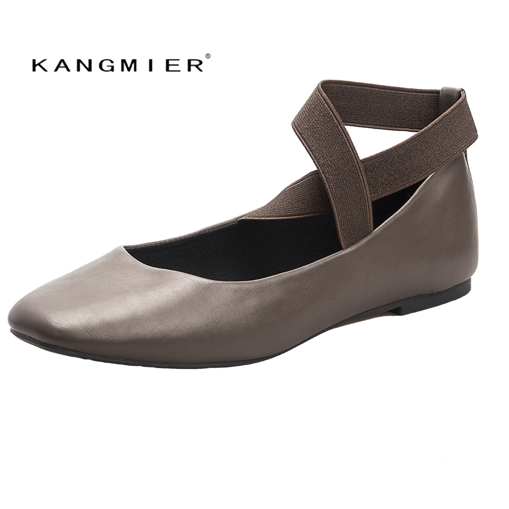 KANGMIER Women Ballet Flat Leather Shoes Square Toe Casual Shoes Women Shoes Woman Autumn Flatie in black Tan Coffee Canvas New canvas shoes women black red jazz shoes ballet dance shoes split heels sole sl02138b2