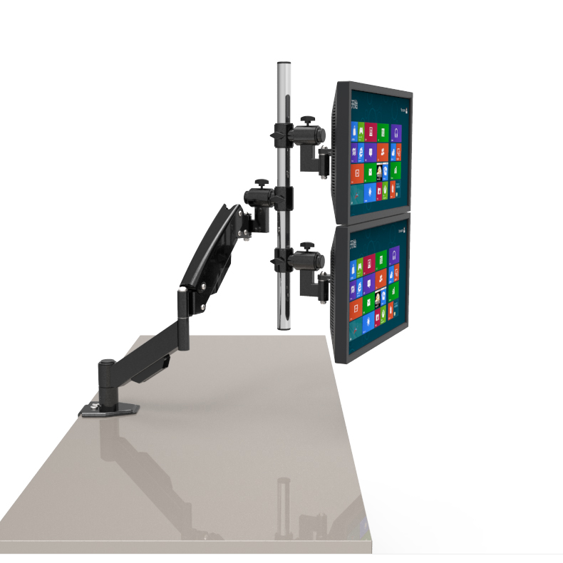 TRIPLE LCD LED TFT MONITOR DESK STAND MOUNT CLAMP FULLY ADJUSTABLE HEAVY DUTY 3 SCREENS 13-24