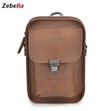 Zebella Men Waist Bag Leather Retro Fanny Pack Multifunction Adjustable Belt For Travle Phone