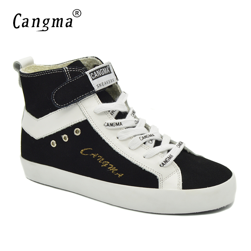 CANGMA Fashion Cow Suede Shoes Woman Boots Casual Shoes Women Genuine Leather Sneakers Lace Up Black Footwear Female Ankle Boots glowing sneakers usb charging shoes lights up colorful led kids luminous sneakers glowing sneakers black led shoes for boys