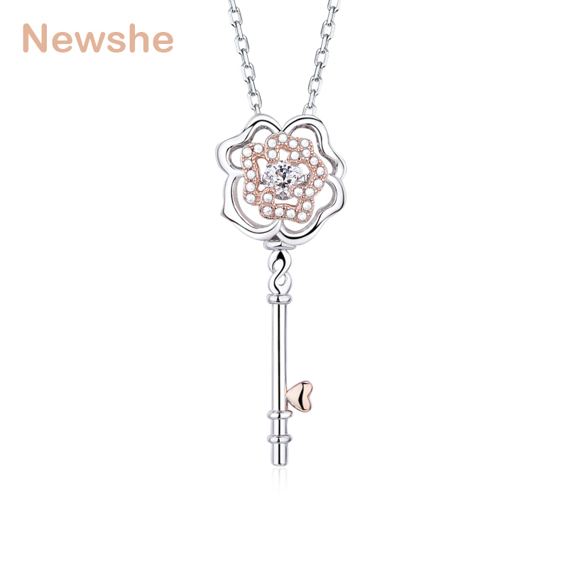 Newshe Exquisite Key Shape Dancing Stone Design Pendant for Women Come with 925 Sterling Silver Chain risoli форма dolce прямоугольная 26х37 см 010080 510tr risoli 010080 510tr risoli