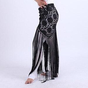 Image 2 - 2019 여성 섹시 밸리 댄스 의상 부족의 술 엉덩이 스카프 꽃 숙녀 벨리 댄스 랩 벨트 스커트 프린지 6 색