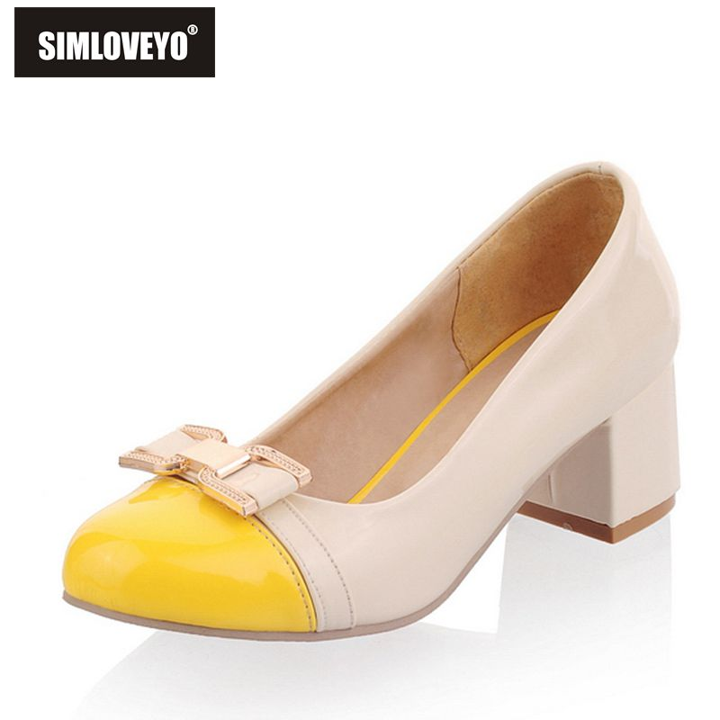 SIMLOVEYO Women Shoes Sweet Chaussure Femme Zapatos Mujer Ladies Steel Toe Med Heel Square Heel 4 Color Shallow Shoes B408