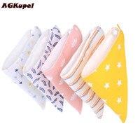 AGKupel 2Pec Set Cotton Baby Bibs Newborn Baby Burp Cloths Bandana Triangle Bibs Toddler Saliva Towel