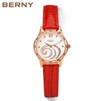 Berny для женщин часы женские кварцевые часы модный топ роскошные брендовые Relogio Saat Montre Horloge Feminino Баян Femme Японии движение
