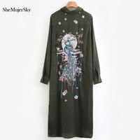 SheMujerSky Long Shirt Green Women Blouse Peacock Embroidery Long Sleeve Cardigan Tassel Womens Tops 2017