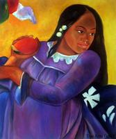 Portrait Art Woman with a Mango by Paul Gauguin Oil Paintings for Office Decor Impressionist Hand Painted