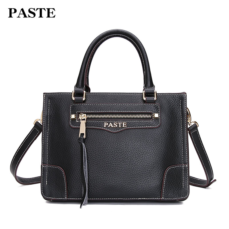 Paste Women Handbags Genuine Leather Shoulder Bags Square Leather Crossbody Messenger Bag 2018 Solid Small Lady Satchels p0815 2017 new women leather handbags simple fashion genuine leather small square bag female shoulder messenger bags crossbody bags