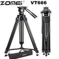 Trípode profesional Zomei VT666 para cámara de vídeo con cabezal fluido panorámico de 360 grados para videocámara DSLR Video, DV, fotografía