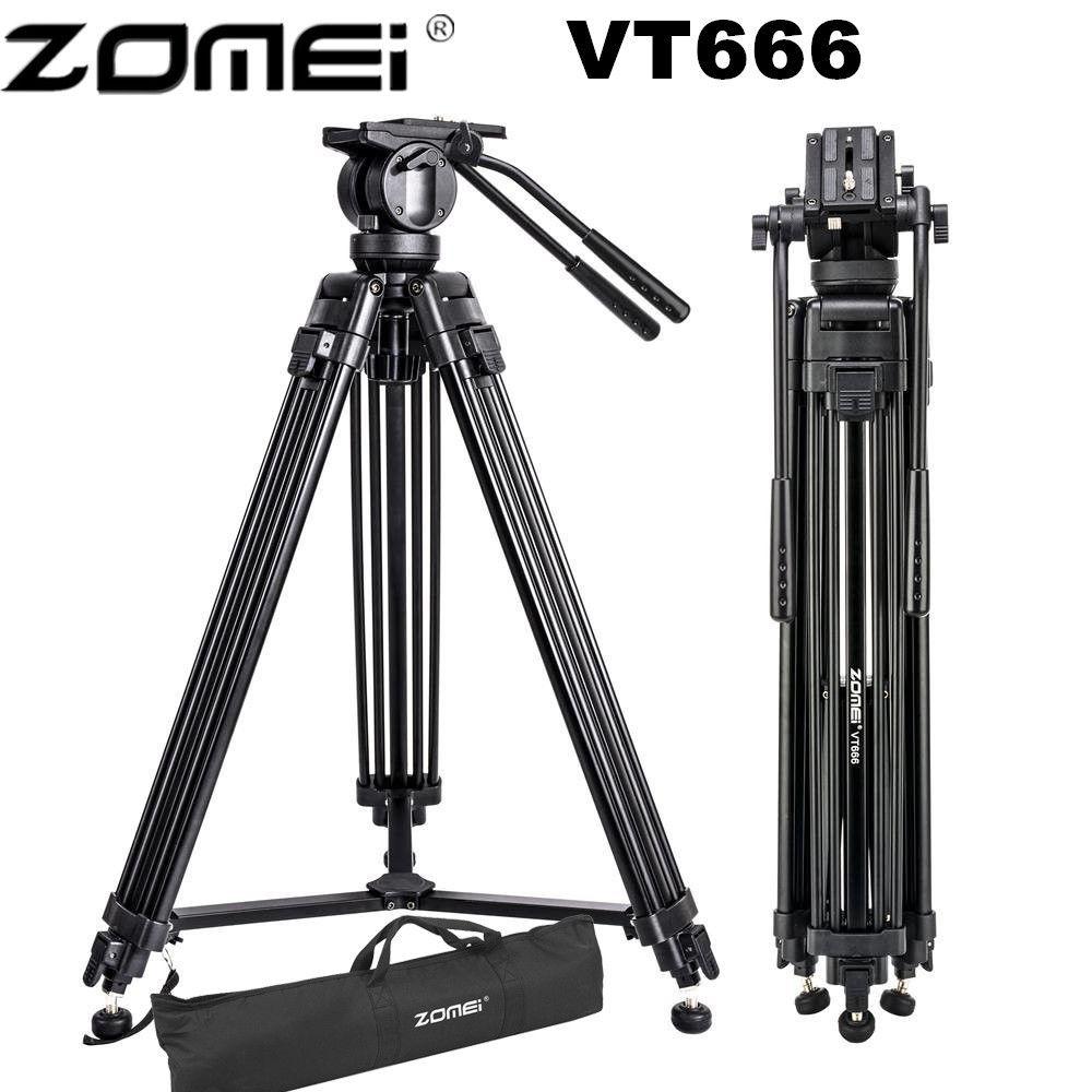Zomei VT666 Professionnel Caméra Vidéo Trépied avec Degrés Panoramique Tête Fluide pour DSLR Caméscope Vidéo, DV, photographie