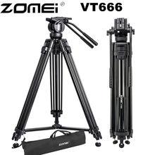 حامل ثلاثي لكاميرا فيديو احترافي Zomei VT666 مع رأس سوائل بانورامي 360 درجة لكاميرا فيديو DSLR ، DV ، تصوير