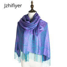 scarf woven shawl pashmina fashion mujer capes jacquard hijabs winter kashmir paisley hijab femme muffler stole mujer wraps