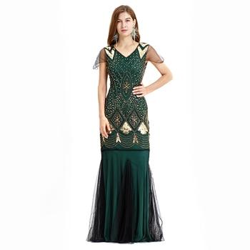 a82ccd19c 1920 s gran Gatsby vestidos Danza Latina aleta de cuello en V con cuentas  lentejuelas vestido largo Gatsby vestido piso-longitud vestido Charleston