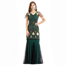 1920s Great Gatsby Latin Dance Dresses Flapper V Neck Beaded Sequins Party Long Dress Floor-Length Charleston