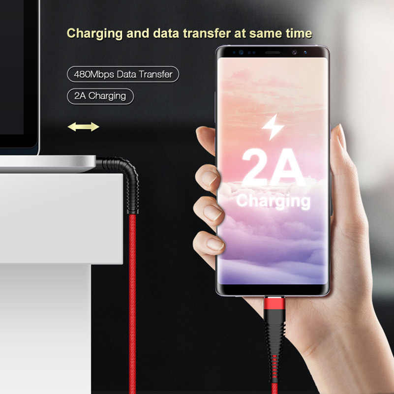 1M 2A مرحبا الشد USB نوع C كابل لسامسونج S8 S9 زائد بيانات مايكرو USB شاحن كابل ل فون هواوي كابلات الهاتف المحمول كابو