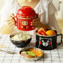 Heropie Cartoon Stainless Steel Bowl Instant Noodle Bowl With Lid With Handle Food Container Rice Bowl Lunch Box 0E