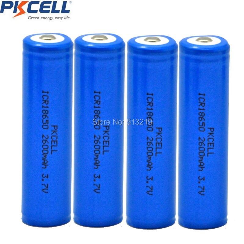 4PCS x PKCELL batteria ICR 18650 2600mAh 3.7v Li-ion De Lítio 18650 Baterias Recarregáveis Da Bateria Botão de Cima para caneta laser 18650