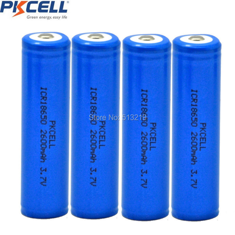 4PCS x PKCELL ICR 18650 Battery 3.7v 2600mAh Li ion Rechargeable Batteries 18650 Lithium Battery Button Top for laser pen 18650 стоимость