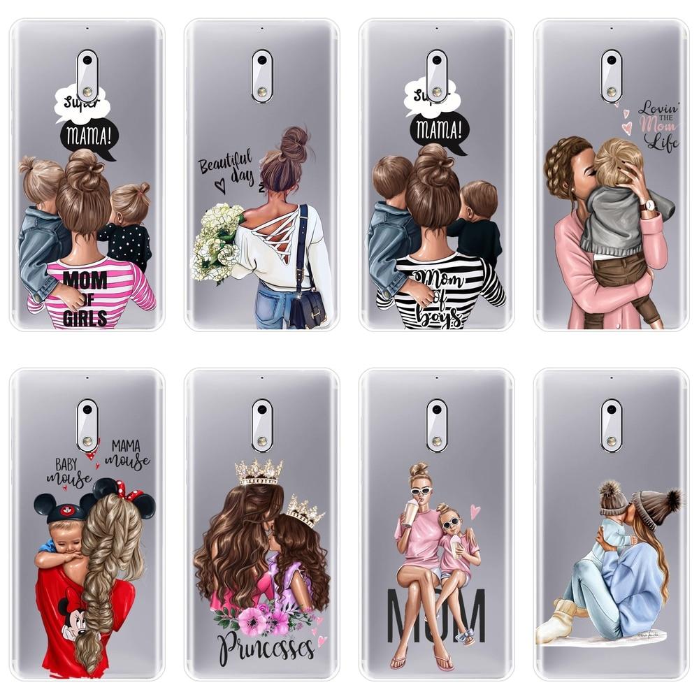 Cute Retro Cartoon Black Baby Women Mom Girl Back Cover For Nokia X6 7 Plus Soft Silicone Phone Case For Nokia 1 2 3 5 6 8 Case