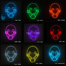Halloween Rave Light Up Neon EL Wire Mask Korku Glowing maskesi Horror Flashing Cosplay Mask For Horror House Night Glow Party