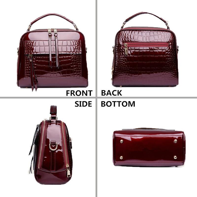 Image 2 - FLYONE Crossbody Bags for Women 2019 Women Handbag Crocodile Patent Leather Shopper Tote Shoulder Bag Women's Bag Bolsa Feminina-in Shoulder Bags from Luggage & Bags