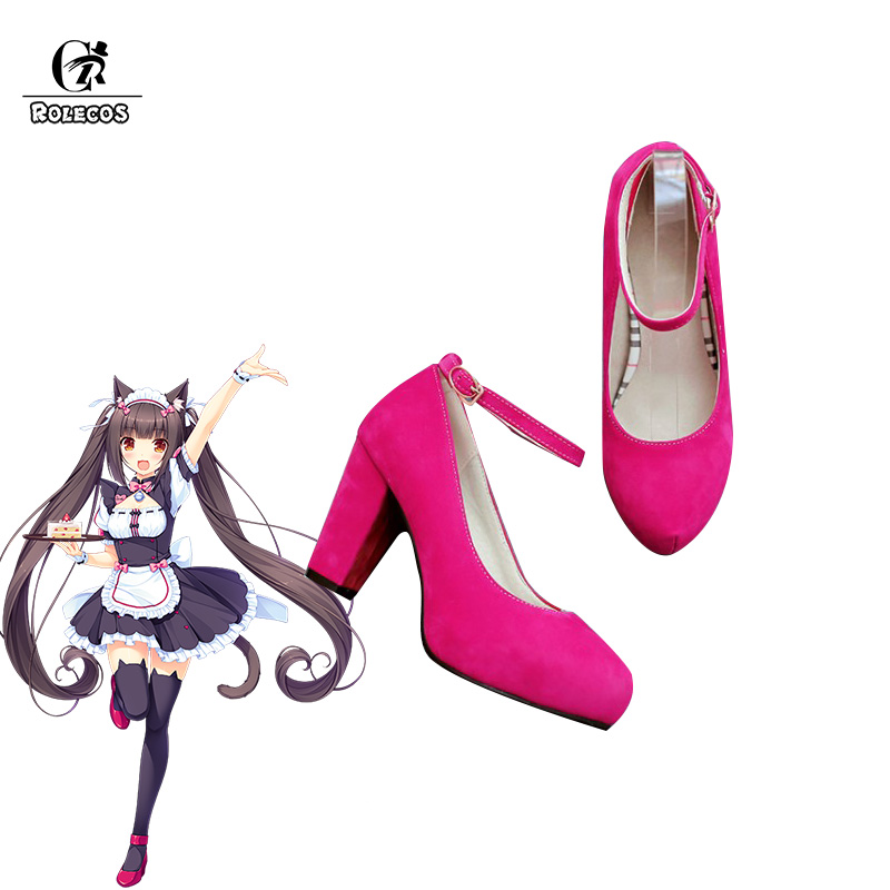 ROLECOS Game Nekopara Cosplay Shoes Chocola and Vanilla Cosplay Shoes Women Maid Red Blue High heeled